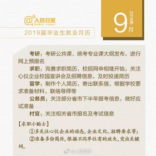超实用!人民网发布2019届毕业生就业月历